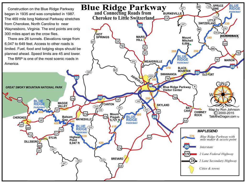 Diamondback 226 Blue Ridge Parkway Tail Of The Dragon Maps