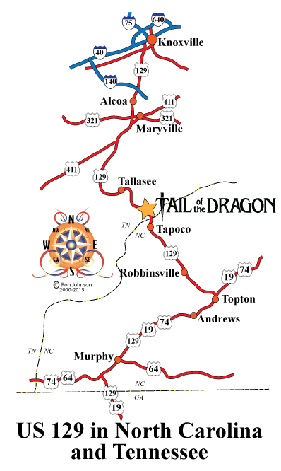 Us 129 Tail Of The Dragon Map US129 NC/TN – Tail of the Dragon Maps